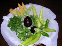 First Crop of the Season ~ 5 Pepper Inferno - 2 Jalapenos - 2 Eggplants Baby Belle - 6 Squash flowers - Parsley - Greek