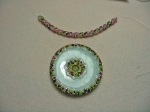 Flowered Jade Donut Pendant & Twisted Herringbone Rope