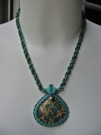 Spiral Rope Necklace with Blue Aqua Terra Jasper Pendant