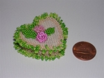 Suzanne Cooper's heart box beaded with size 15/0 seed beads instead of Delicas. 1 1/2' x 1 1/2' including fringes. Le