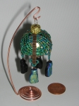 Mini Ornament. Japanese Seed Beads, Czech Pressed Glass Beads.