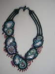 Abalone & Blister Pearls Necklace. Bead embroidery, brick stitch, herringbone stitch, stringing. Tumbled abalone pieces,