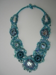 Abalone & Blister Pearls Necklace II. Bead embroidery, brick stitch, peyote stitch, herringbone stitch, stringing. Tumbl
