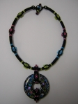 Mosaic Colored Shell Donut Necklace. Embellished Herringbone Rope. Size 11/0 seed beads, Miyuki drops.