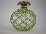 Blown Glass Beaded Vase.  Size 15/0 Japanese seed beads, 24K plated Charlottes, true cut 15/0 and true cut 11/0; 14mm S