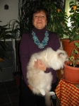 I got me a model!  Here's my auntie Chiara wearing her new necklace and holding Bubi.   Bubi seems to be more attracted