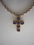 Tanzanite cross detail
