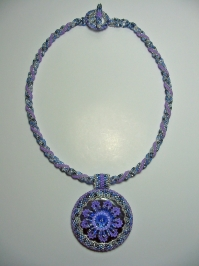 Lapis Flowered Donut Necklace