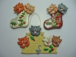 Polymer Clay Cats. Magnets and wall hanging. 1996