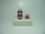 Beaded Bottle # 12.  The plain bottle is only 1 and 1/2 inches tall (4cm) and the diameter is 0.67 inches (17mm).  Size