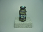 Beaded Bottle # 13.  The plain vial (before beading) measures 2 inches (5cm) x almost 1 inch (2.4cm).  Size 11/0 and 15/