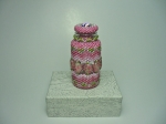 Beaded Bottle # 14.  The plain vial (before beading) measures 2 inches (5cm) x almost 1 inch (2.4cm).  Size 11/0 and 15/