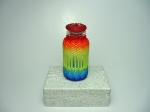 Beaded Bottle # 15.  The plain vial (before beading) measures 2 inches (5cm) x almost 1 inch (2.4cm).  Size 11/0 and 15/