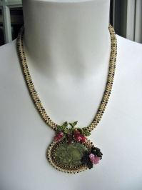 3D RAW Necklace with Green Brecciated Jasper Cabochon