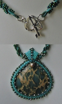 Spiral Rope Necklace with Blue Aqua Terra Jasper Pendant/details